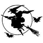 Witch on broom w/bats
