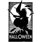 Witch on broom w/Halloween
