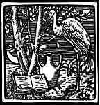 Woodblock Heron & Book