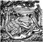 Nudes wood engraving