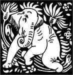Elephant kneeling & lotus
