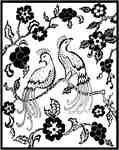 Long tailed birds with flowers frame
