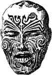 Tattooed face New Guinea
