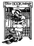 Little girl holding books bookplate