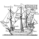 Diagram Elizabethan Ship