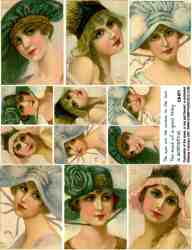 Beautiful Hat Ladies Collage Sheets
