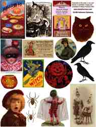 Halloween Ephemera Collage Sheet