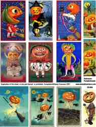 Halloween Pumpkin Heads Collage Sheet
