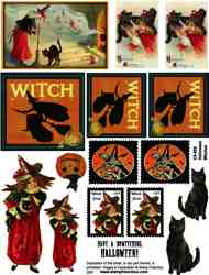 Halloween Witches Collage Sheet