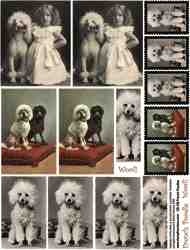 French Poodles Collage Sheet