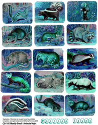 Mostly Small Animals Blue Collage Sheet